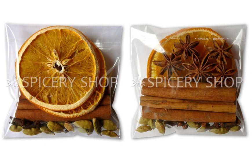 Подарочный набор специй и пряностей для глинтвейна с апельсином, корицей и бадьяном