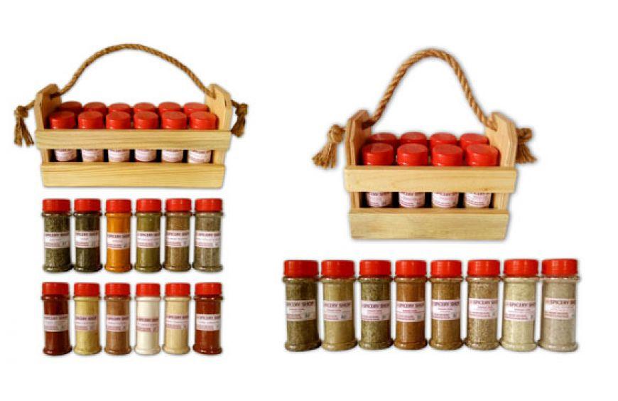 Самые популярные подарочные наборы специй и приправ в баночках и деревянных корзинка