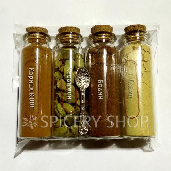 Подарочный набор специй для чая карманный | Чаеман 4 пряности