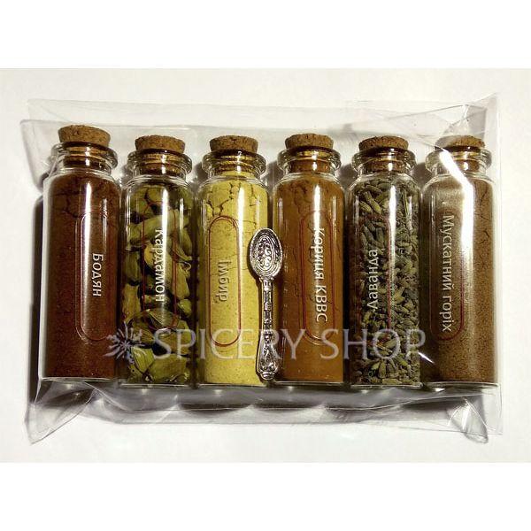 Подарочный набор специй для кофе карманный | Кофеман 6 пряностей