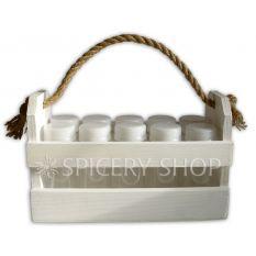 Набор для специй на 10 баночек 100 мл в корзинке, цвет - белый