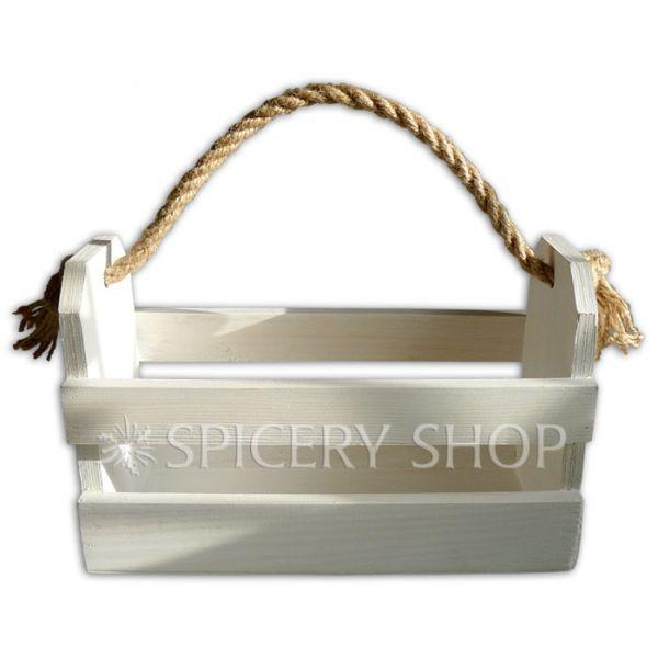 Деревянная подставка для специй в виде корзинки на 10 баночек | цвет — белый
