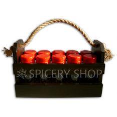 Набор для специй на 10 баночек 100 мл в корзинке, цвет - коричневый