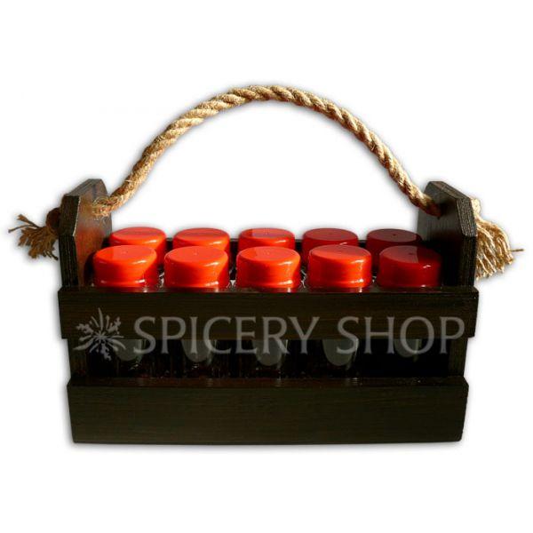Набор для специй на 10 баночек 100 мл в корзинке | коричневый цвет