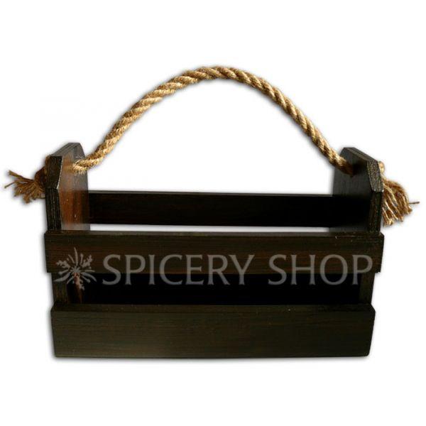 Деревянная подставка корзинка для специй в коричневом цвете на 10 баночек