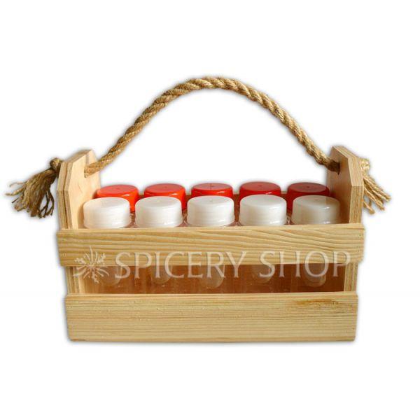 Набор для специй на 10 баночек 100 мл в корзинке | цвет — сосна