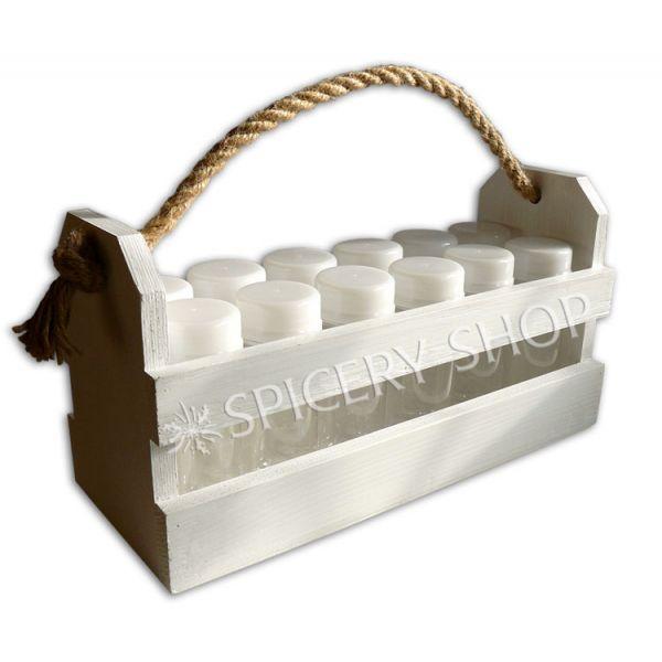 Набор для пряностей на 12 баночек 100 мл в корзинке | цвет — белый