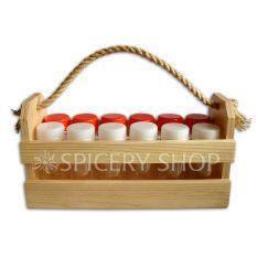 Набор для специй на 12 баночек 100 мл в корзинке, цвет - сосна