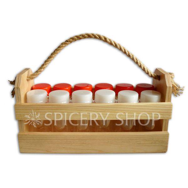Набор для пряностей на 12 баночек 100 мл в корзинке | цвет — сосна