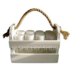 Набор для специй на 8 баночек 100 мл в корзинке, цвет - белый