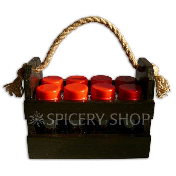 Набор для приправ на 8 баночек 100 мл в корзинке | цвет — коричневый