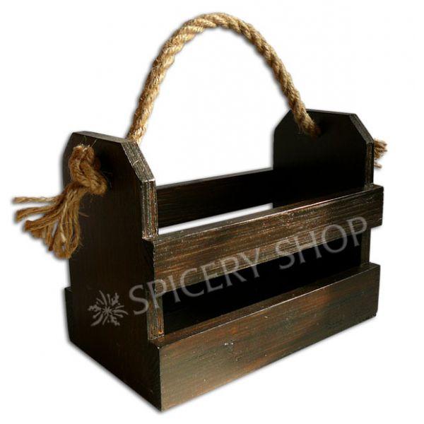 Подставка корзинка для хранения приправ на 8 баночек | цвет — коричневый