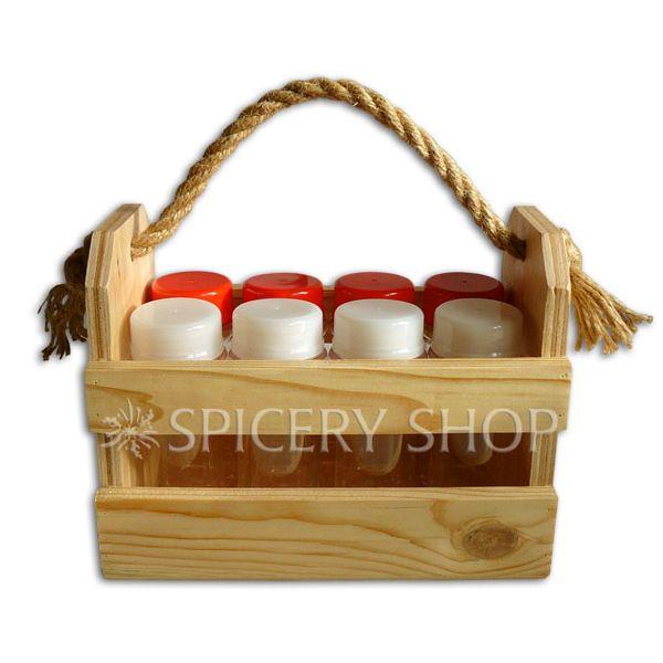 Набор для приправ на 8 баночек 100 мл в корзинке   цвет — сосна
