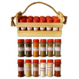 """Подарочный набор специй """"Начинающий кулинар"""" в корзинке"""